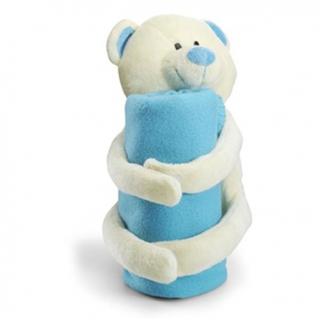 Modrá fleecová deka s mackom
