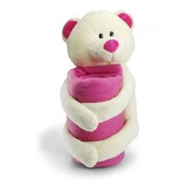 Ružový macko s fleecovou dekou