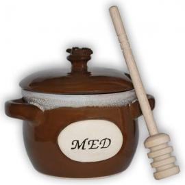Keramická dóza na med s naberačkou medu